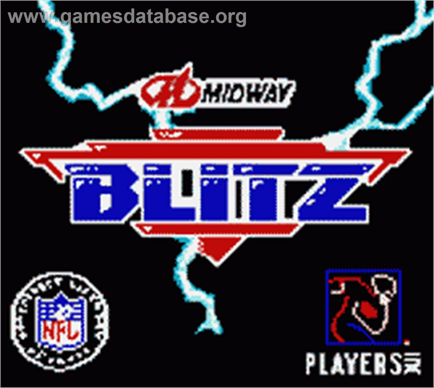 Title screen of NFL Blitz on the Nintendo Game Boy Color.