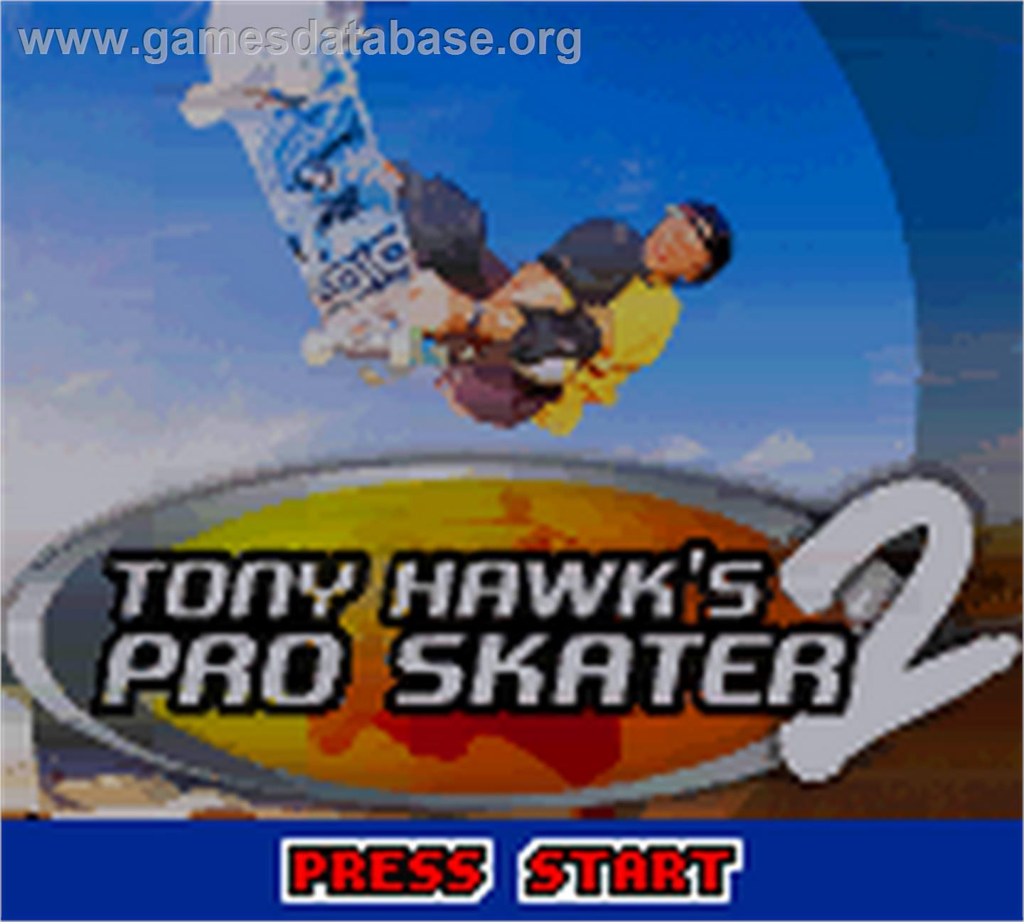 Title screen of Tony Hawk's Pro Skater 2 on the Nintendo Game Boy