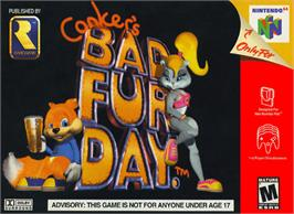 Box cover for Conker's Bad Fur Day on the Nintendo N64.