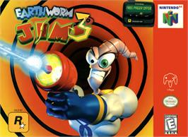 Box cover for Earthworm Jim 3D on the Nintendo N64.