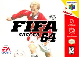 Box cover for FIFA 64 on the Nintendo N64.