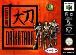Box cover for John Romero's Daikatana on the Nintendo N64.
