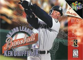 Box cover for Major League Baseball Featuring Ken Griffey Jr on the Nintendo N64.