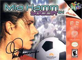 Box cover for Mia Hamm Soccer 64 on the Nintendo N64.