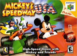 Box cover for Mickey's Speedway USA on the Nintendo N64.