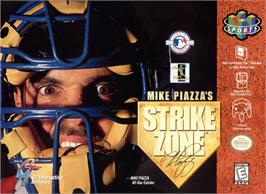 Box cover for Mike Piazza's StrikeZone on the Nintendo N64.