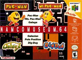 Box cover for Namco Museum 64 on the Nintendo N64.