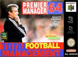 Box cover for Premier Manager 64 on the Nintendo N64.