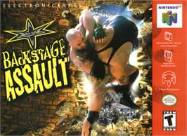 Box cover for WCW Backstage Assault on the Nintendo N64.
