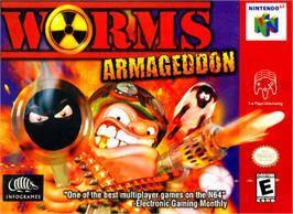 Box cover for Worms Armageddon on the Nintendo N64.