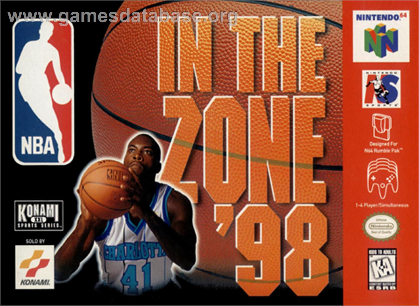 Box cover for NBA: In the Zone '98 on the Nintendo N64.