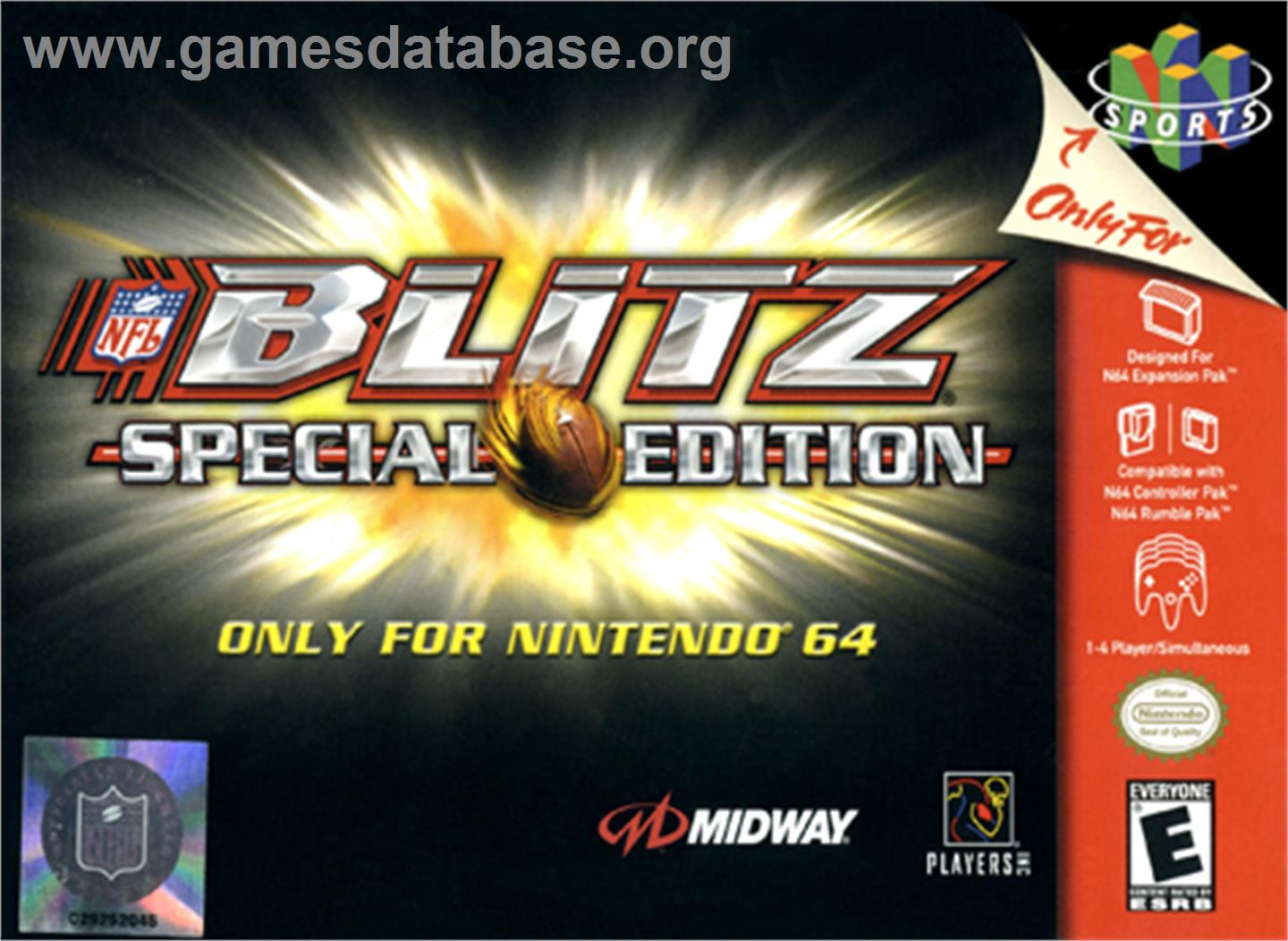 Box cover for NFL Blitz Special Edition on the Nintendo N64.