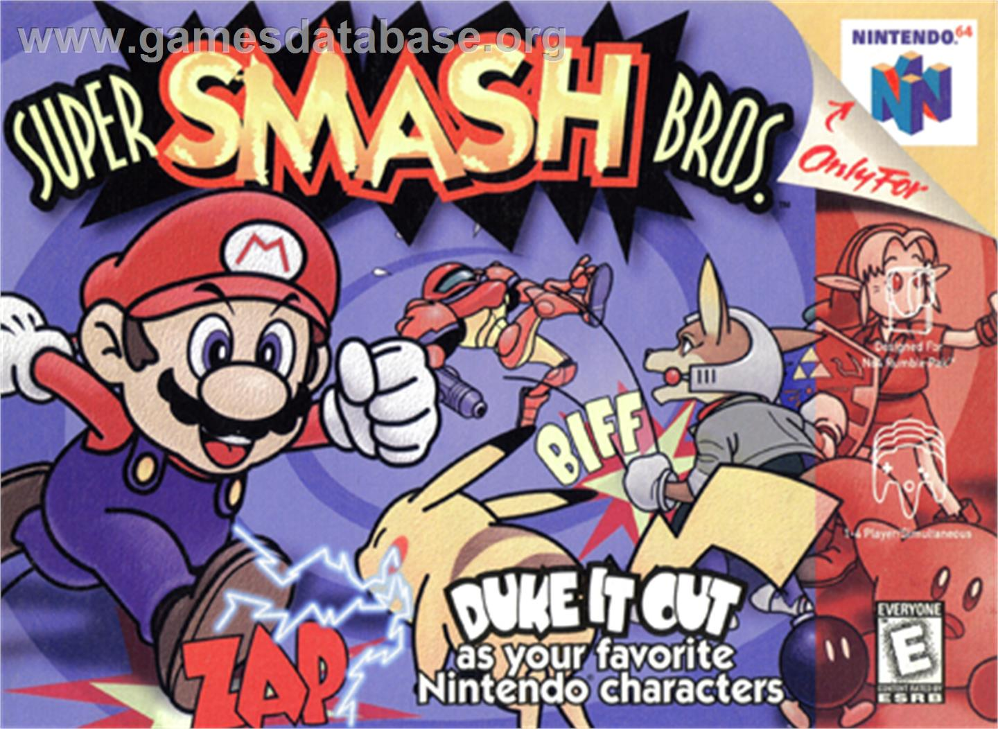 Box cover for Super Smash Bros. on the Nintendo N64.