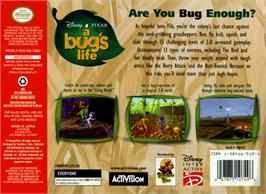 Box back cover for A Bug's Life on the Nintendo N64.
