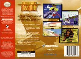 Box back cover for Aero Fighters Assault on the Nintendo N64.