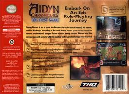 Box back cover for Aidyn Chronicles: The First Mage on the Nintendo N64.