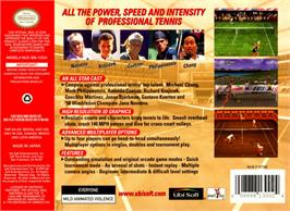 Box back cover for All Star Tennis '99 on the Nintendo N64.