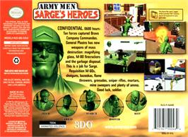 Box back cover for Army Men: Sarge's Heroes on the Nintendo N64.