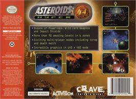 Box back cover for Asteroids Hyper 64 on the Nintendo N64.