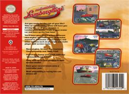Box back cover for Automobili Lamborghini: Super Speed Race 64 on the Nintendo N64.