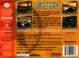 Box back cover for Battle Zone: Rise of the Black Dogs on the Nintendo N64.