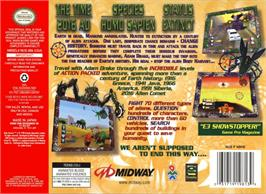 Box back cover for Body Harvest on the Nintendo N64.