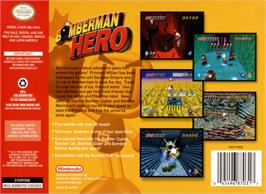 Box back cover for Bomberman Hero: Mirian Oujo wo Sukue on the Nintendo N64.