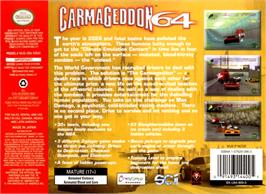 Box back cover for Carmageddon 64 on the Nintendo N64.