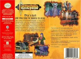 Box back cover for Castlevania: Legacy of Darkness on the Nintendo N64.