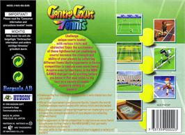Box back cover for Centre Court Tennis on the Nintendo N64.
