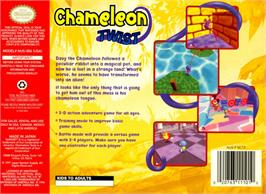 Box back cover for Chameleon Twist on the Nintendo N64.