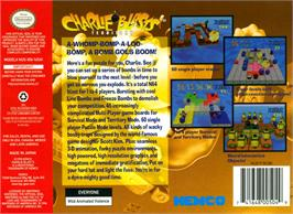 Box back cover for Charlie Blast's Territory on the Nintendo N64.