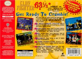 Box back cover for Clay Fighter 63 1/3 on the Nintendo N64.