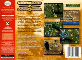 Box back cover for Command & Conquer on the Nintendo N64.
