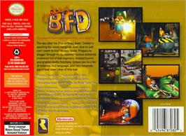 Box back cover for Conker's Bad Fur Day on the Nintendo N64.