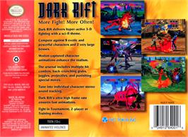 Box back cover for Dark Rift on the Nintendo N64.