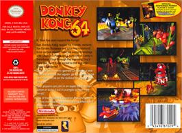 Box back cover for Donkey Kong 64 on the Nintendo N64.