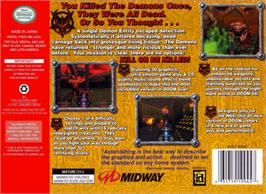 Box back cover for Doom 64 on the Nintendo N64.