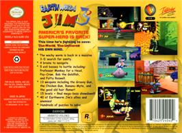 Box back cover for Earthworm Jim 3D on the Nintendo N64.