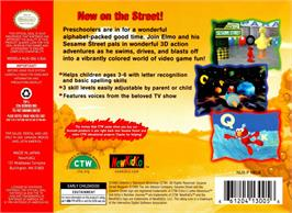 Box back cover for Elmo's Letter Adventure on the Nintendo N64.
