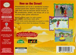 Box back cover for Elmo's Number Journey on the Nintendo N64.
