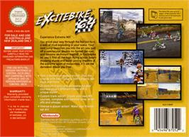 Box back cover for Excite Bike 64 on the Nintendo N64.