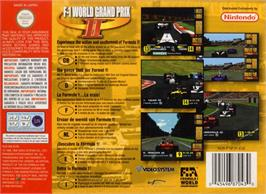 Box back cover for F-1 World Grand Prix 2 on the Nintendo N64.