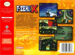 Box back cover for F-Zero X on the Nintendo N64.