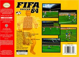 Box back cover for FIFA 64 on the Nintendo N64.