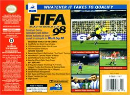 Box back cover for FIFA 98: Road to World Cup on the Nintendo N64.
