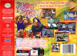 Box back cover for Fighters Destiny on the Nintendo N64.