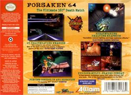 Box back cover for Forsaken 64 on the Nintendo N64.