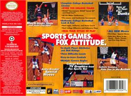 Box back cover for Fox Sports College Hoops '99 on the Nintendo N64.
