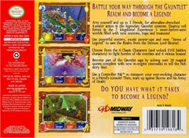 Box back cover for Gauntlet Legends on the Nintendo N64.